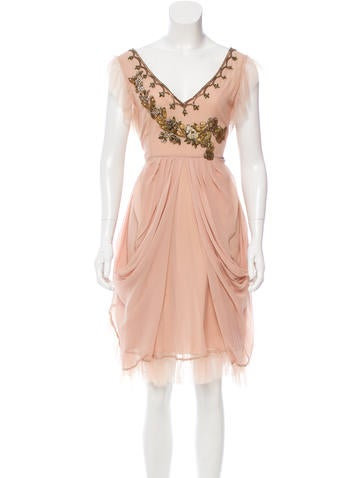 John Galliano Silk Embellished Dress w/ Tags