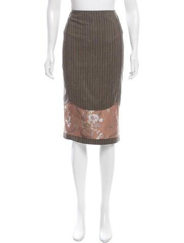 John Galliano Wool Pinstriped Skirt None