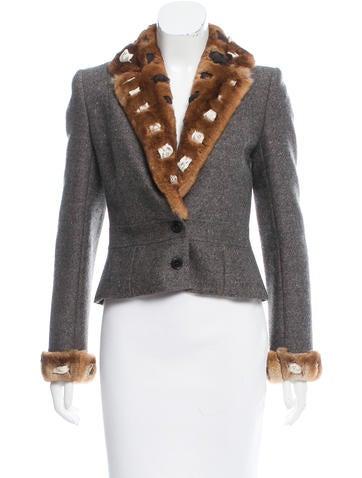 John Galliano Fur-Trimmed Wool Blazer None