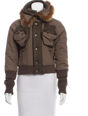 John Galliano Fox Fur-Trimmed Short Coat None