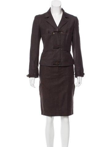 John Galliano Wool Knee-Length Skirt Suit None