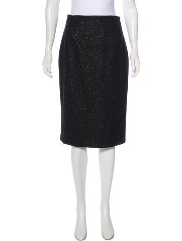 John Galliano Virgin Wool Bow-Accented Skirt None