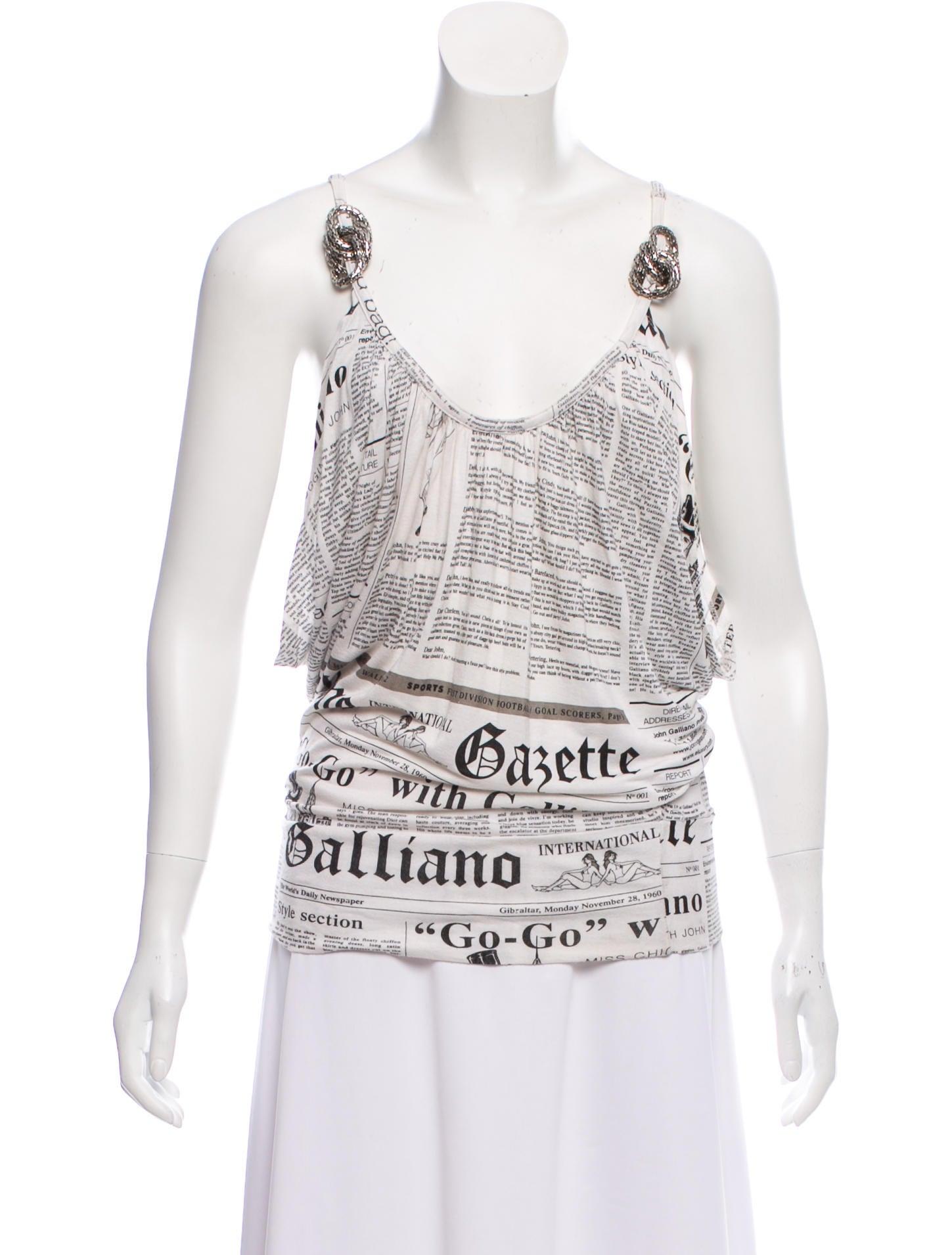 76229bad John Galliano Newspaper Print Sleeveless Top - Clothing - JOH23345 ...