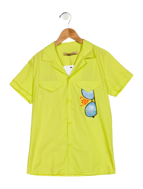 John Galliano Notch-Lapel Button-Up Top Chartreuse