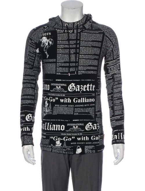 John Galliano Printed Crew Neck Hoodie Black
