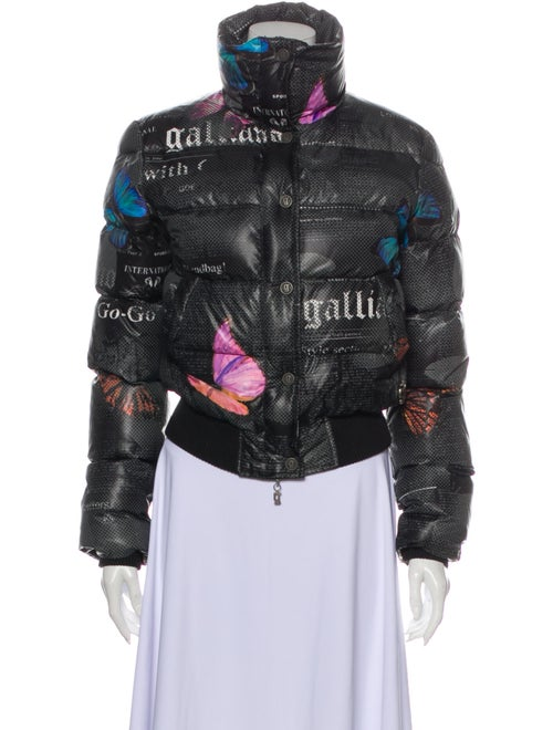 John Galliano Printed Down Jacket Black