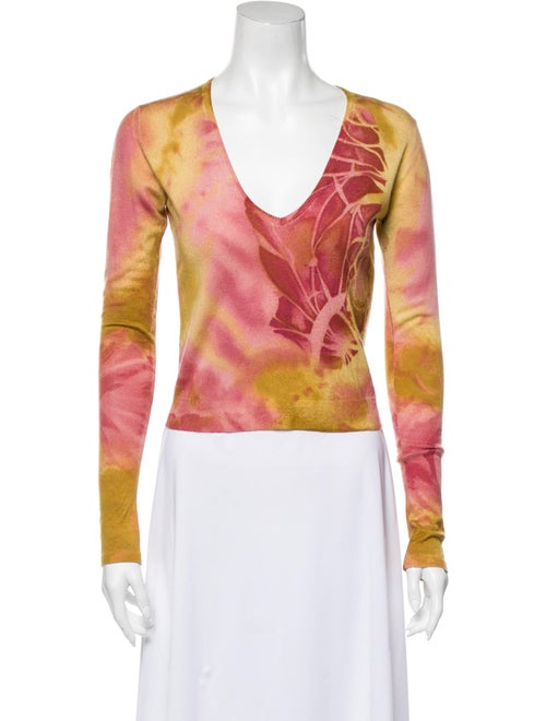 John Galliano Cashmere Tie-Dye Print Sweater