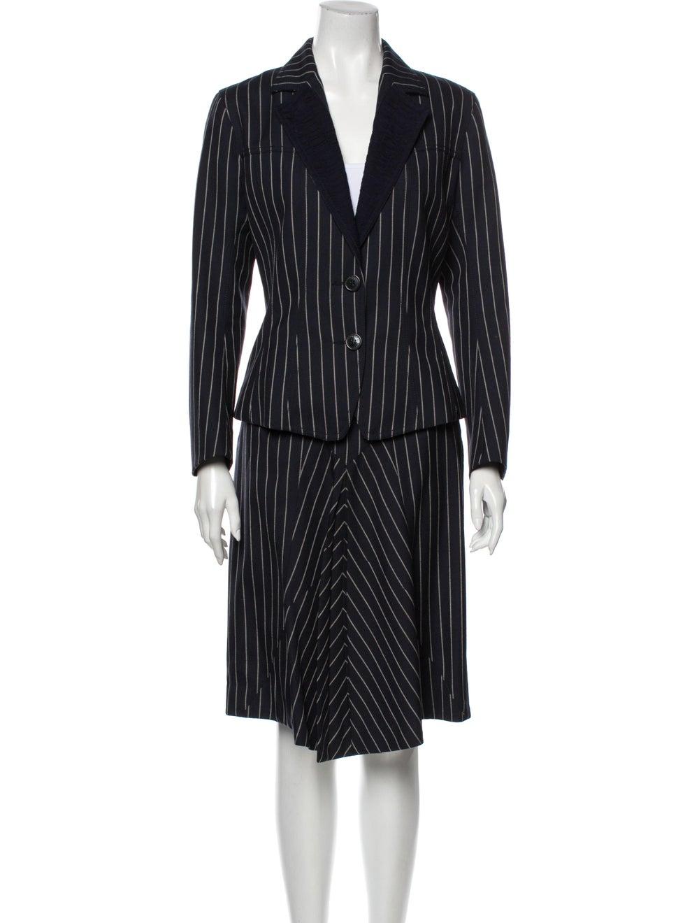 John Galliano Wool Striped Skirt Suit Wool - image 1