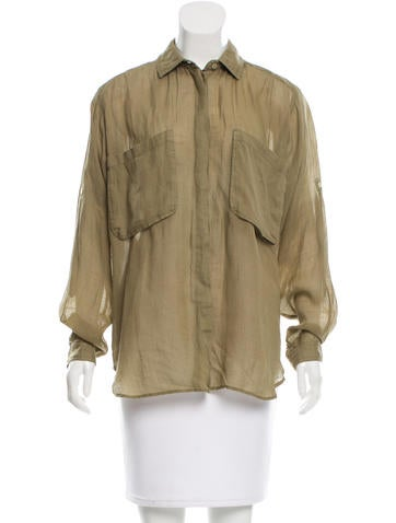 Joseph Semi-Sheer Button-Up Top None