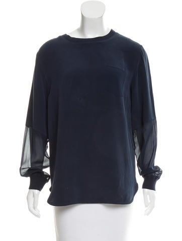 Joseph Long Sleeve Silk Top None