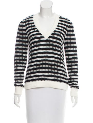 Joseph Basketweave V-neck Sweater None