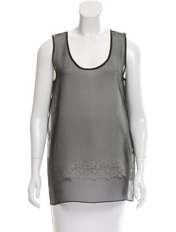 Joseph Sleeveless Mesh-Accented Top None