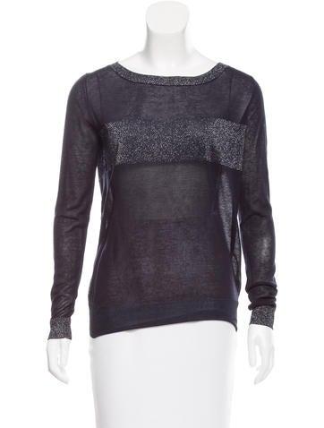 Joseph Metallic-Accented Lightweight Sweater None