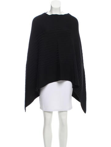 Joseph Rib Knit Wool Poncho None