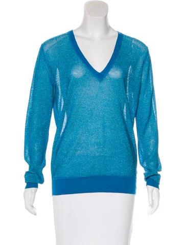 Joseph Metallic V-Neck Sweater None