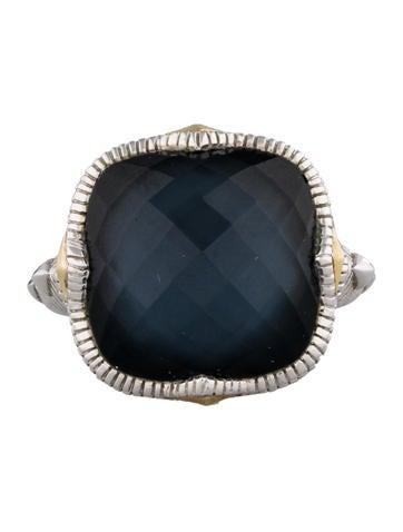 Blue Quartz & Hematite Doublet Cushion Stone Ring