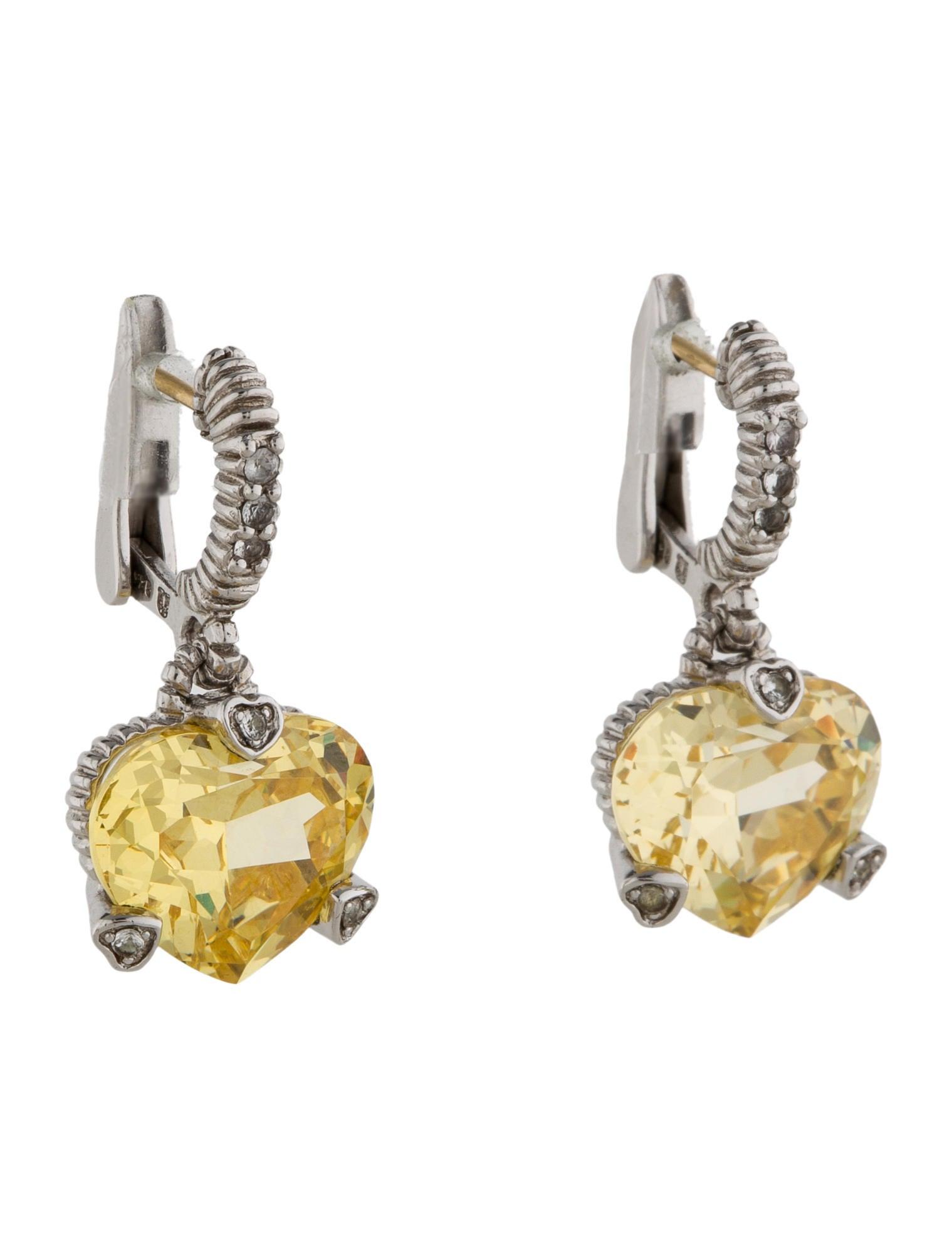 Judith Ripka Canary Crystal Heart Earrings Jrk20508