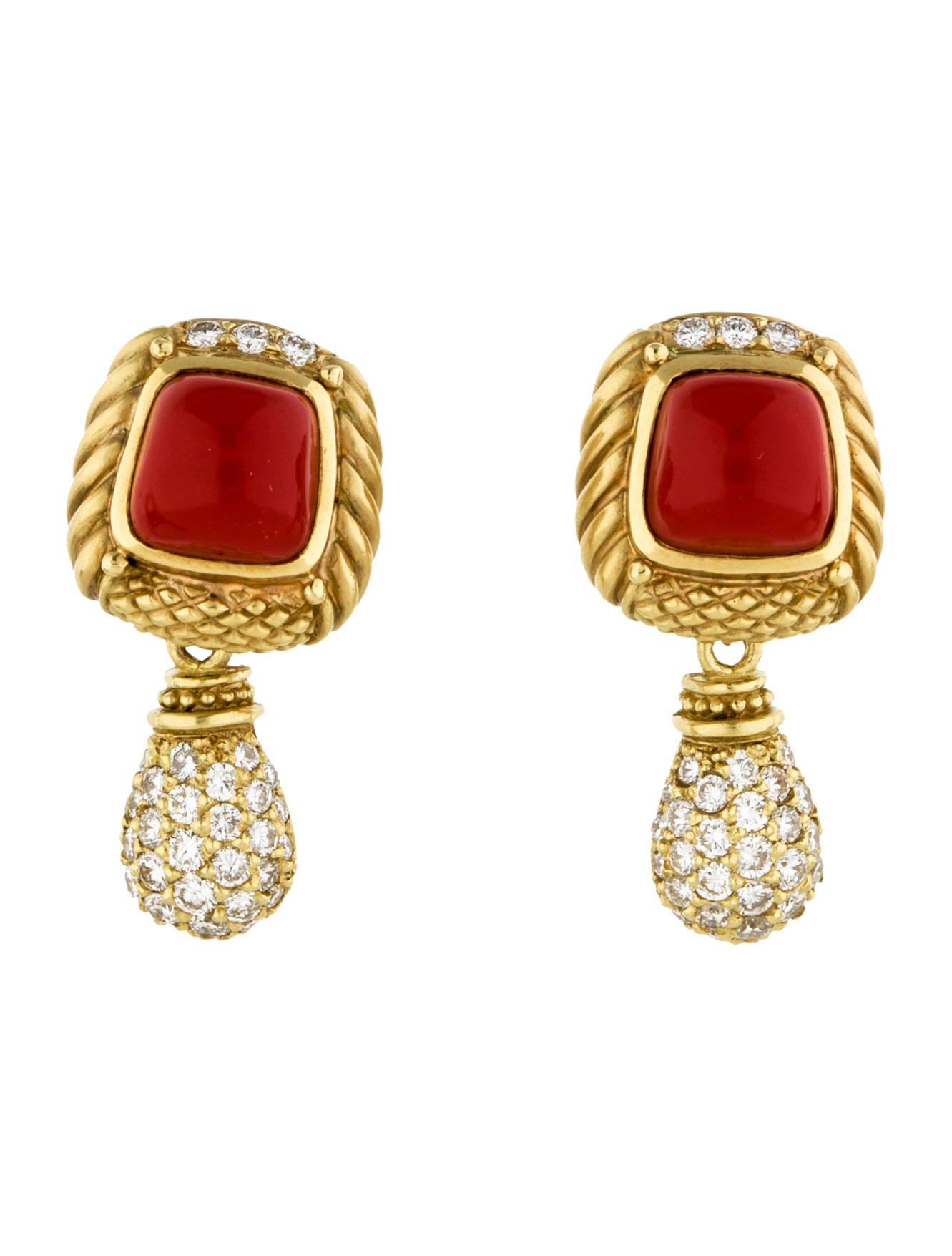 Elegant Coral And Diamond Earrings Jewellry S Website