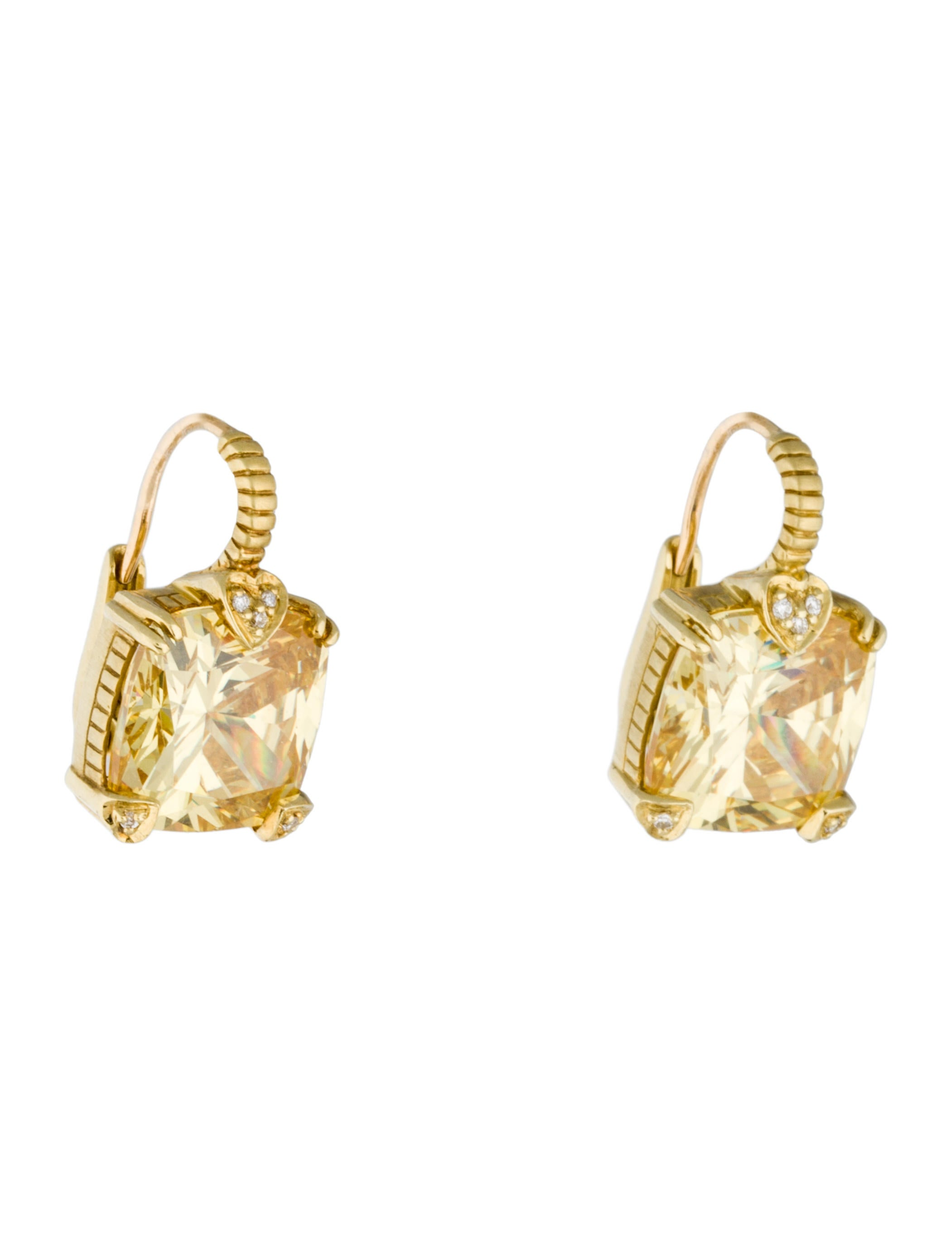 diamond fy p cut canary earrings radiant product platinum carat drop htm