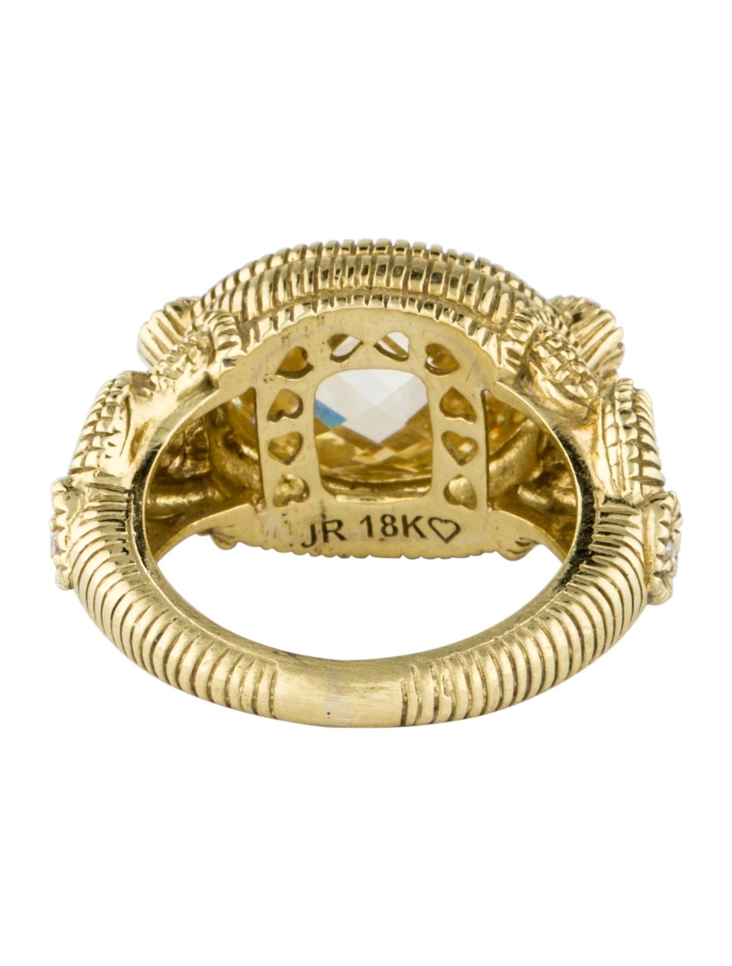 Crystal Diamond Silver Golden Round Flower Heart Anklet: Judith Ripka Canary Crystal & Diamond Ring