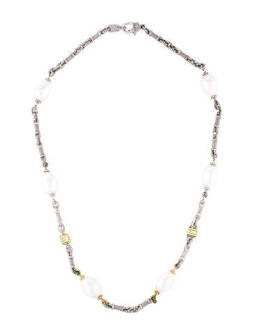 Judith Ripka Pearl & Diamond Station Necklace