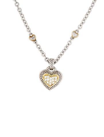 Judith Ripka Two-Tone Diamond Heart Pendant Necklace