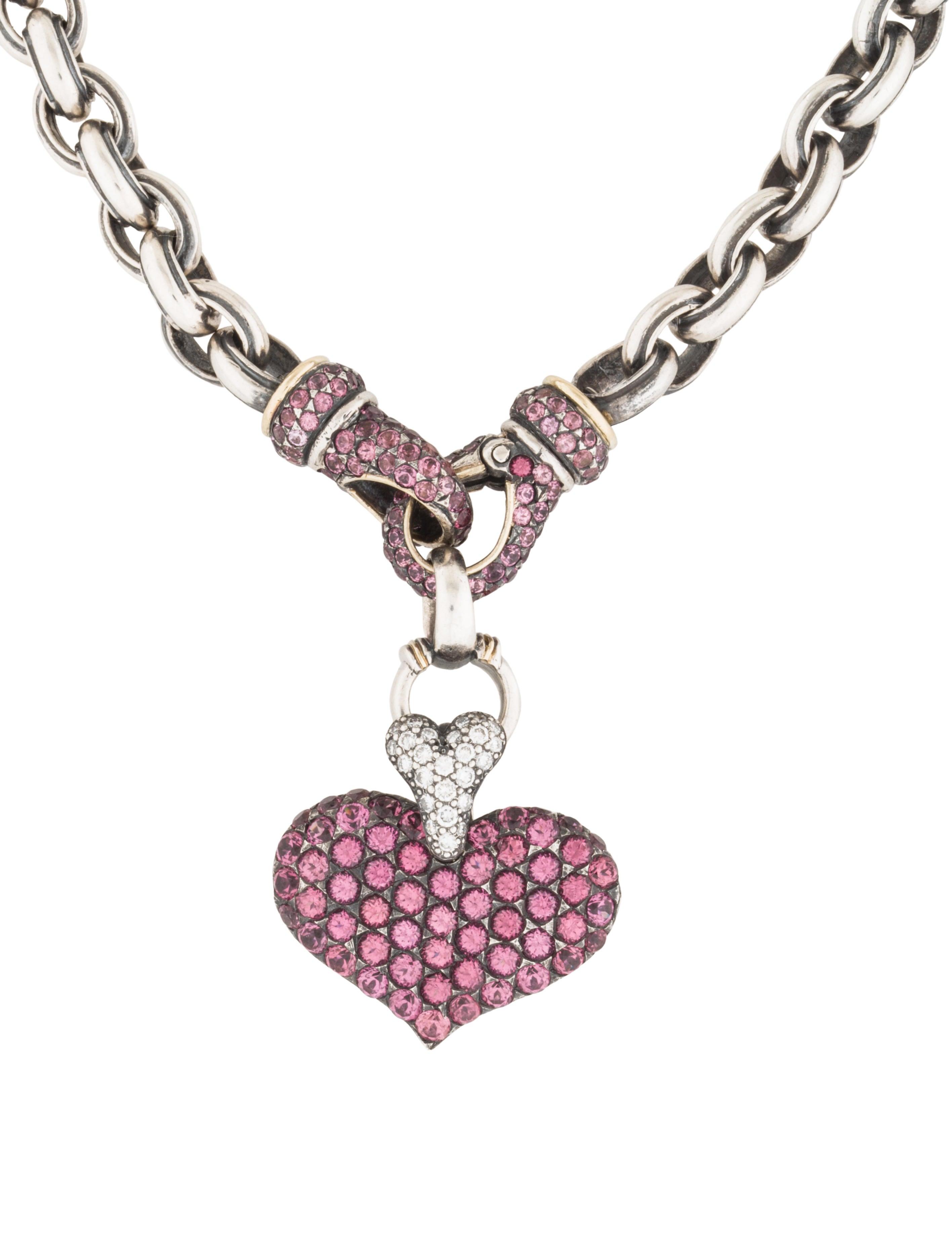 judith ripka pink tourmaline diamond heart pendant. Black Bedroom Furniture Sets. Home Design Ideas