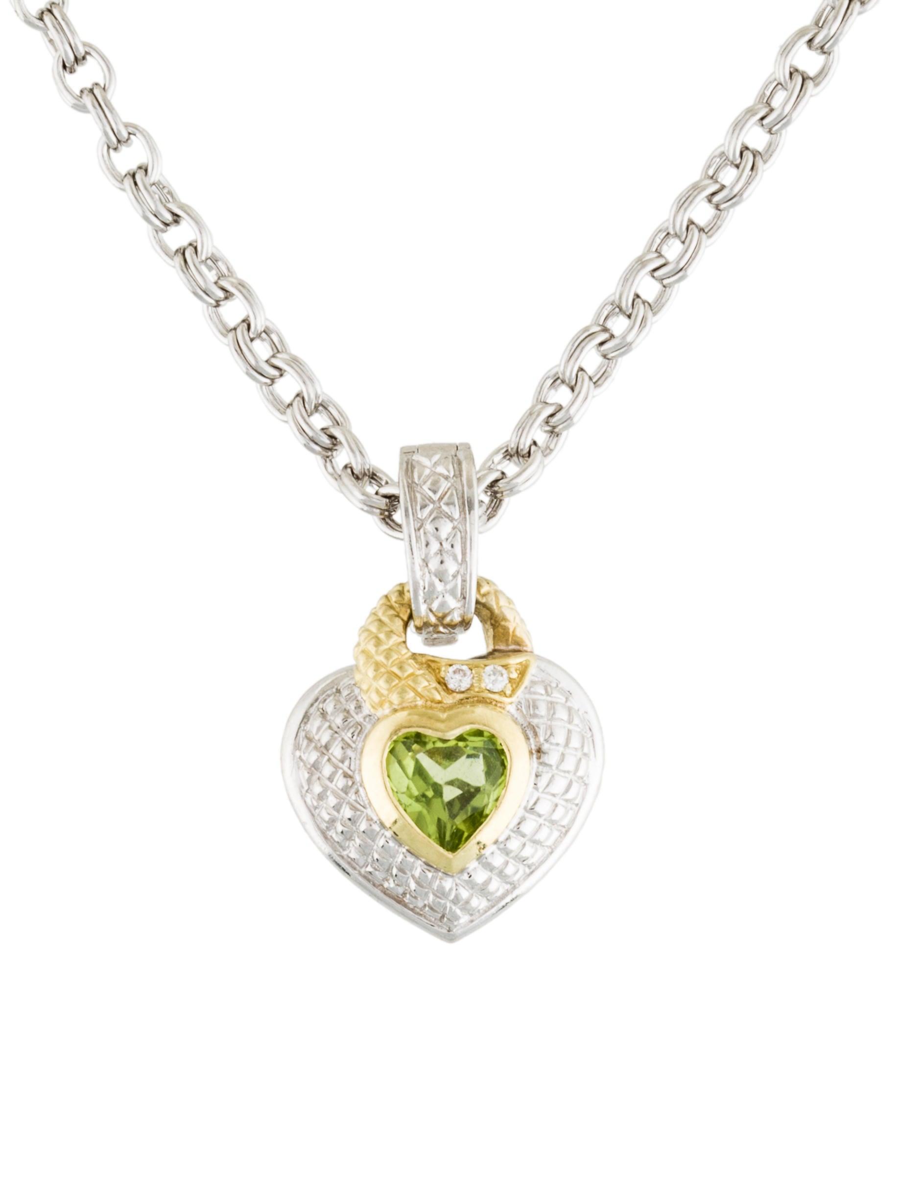 judith ripka diamond peridot heart pendant necklace. Black Bedroom Furniture Sets. Home Design Ideas