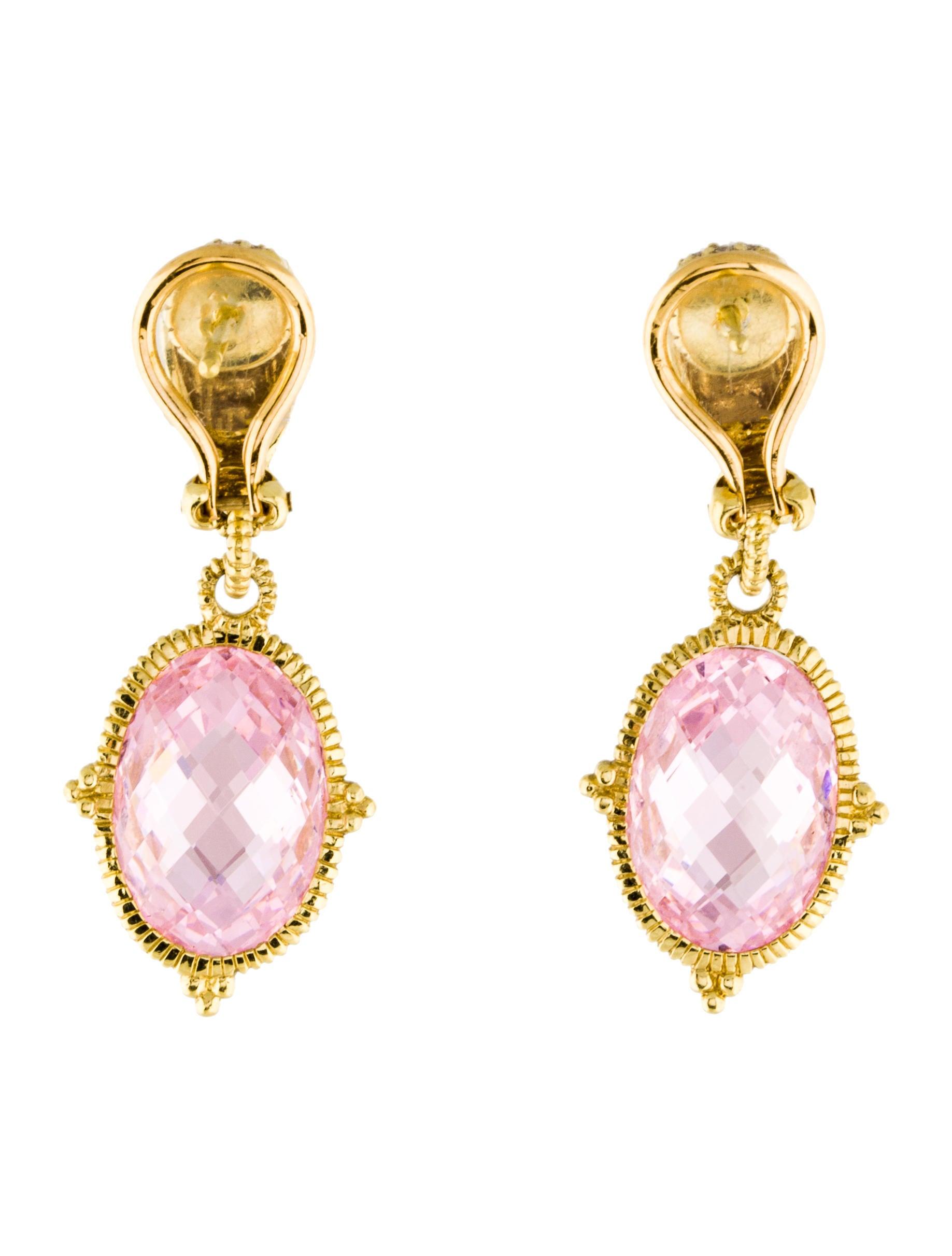 Crystal Diamond Silver Golden Round Flower Heart Anklet: Judith Ripka 18K Pink Crystal & Diamond Drop Earrings
