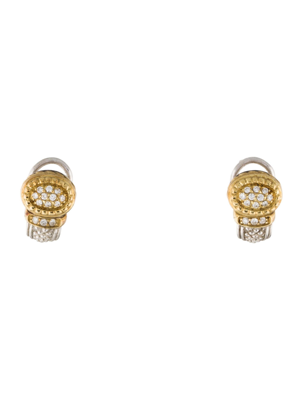 Judith Ripka Two Tone Diamond Ear Clips Earrings JRK