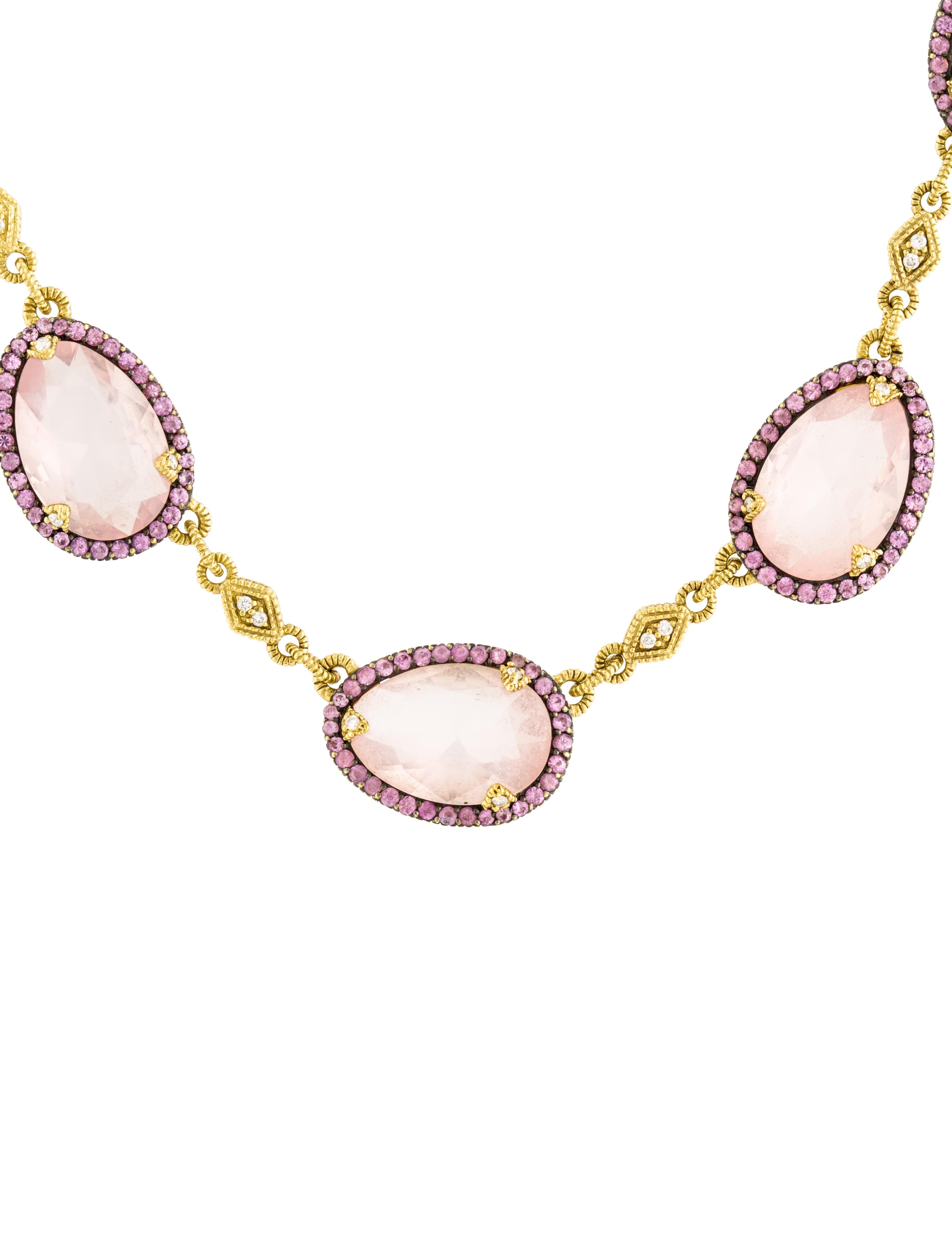 Judith Ripka 18K Rose Quartz Pink Sapphire & Diamond Station