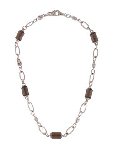 Judith Ripka Diamond & Smoky Quartz Bead Necklace None