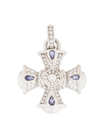 Judith Ripka 18K Diamond & Iolite Maltese Cross Pendant None