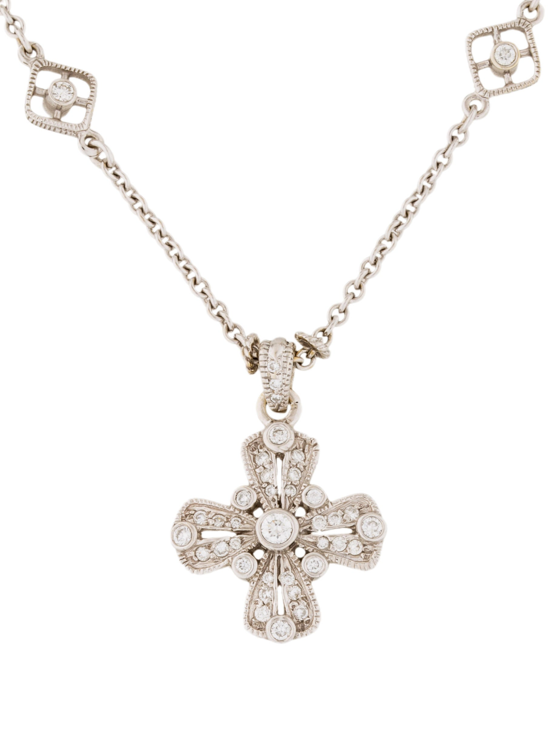 judith ripka 18k diamond cross pendant necklace. Black Bedroom Furniture Sets. Home Design Ideas