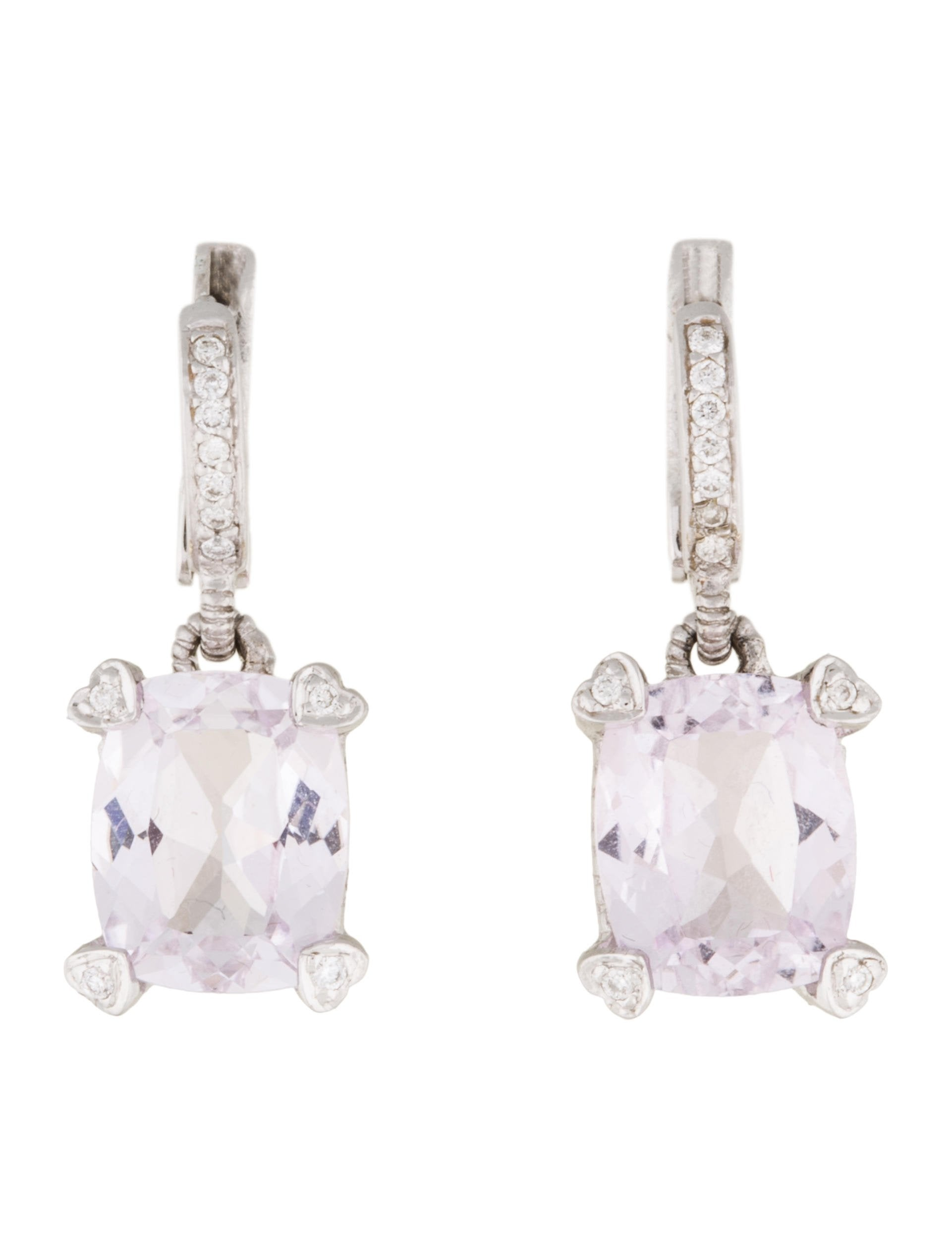 gold gallery in jewelry renee white earrings lyst lewis kunzite