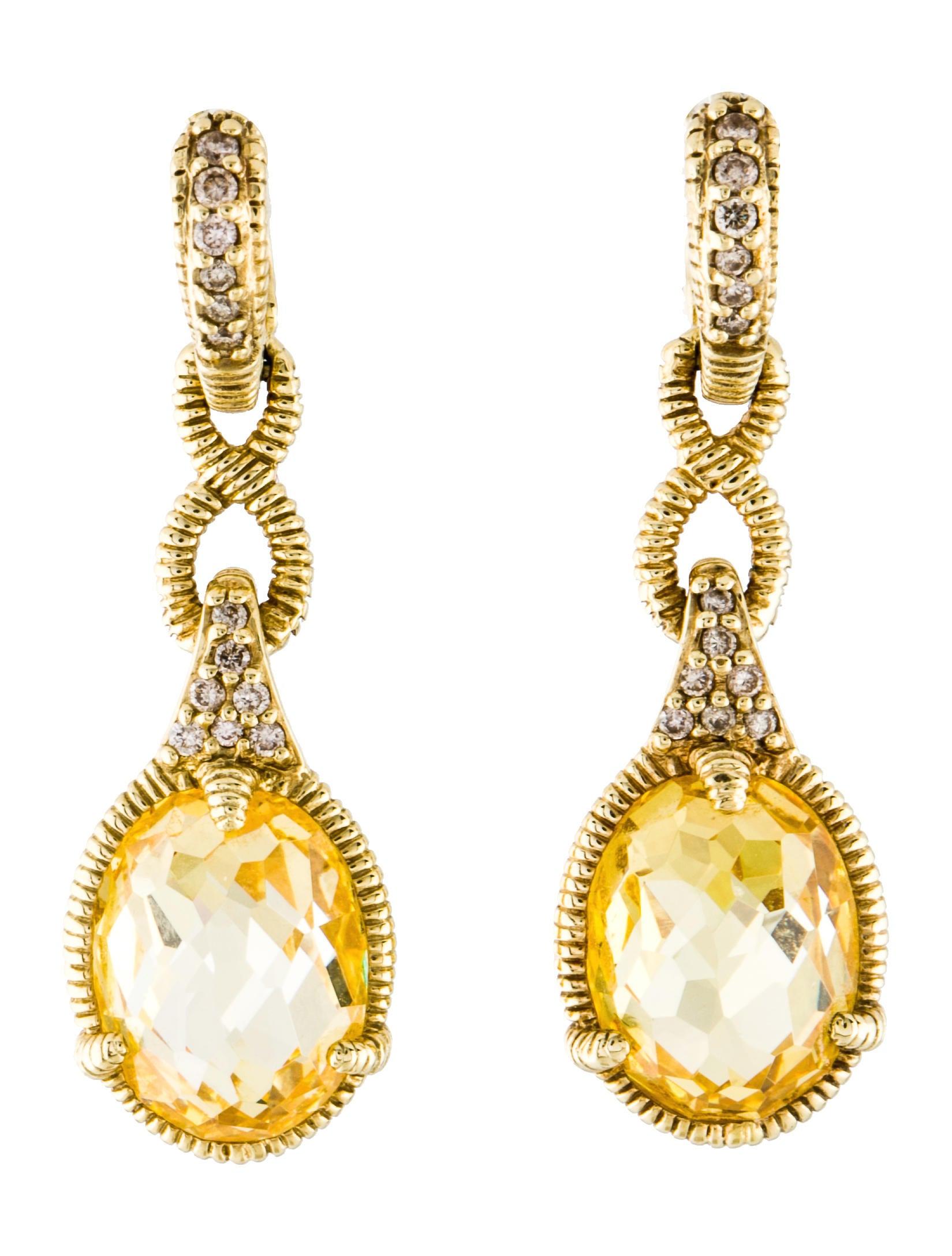 14k Canary Crystal Diamond Drop Earrings