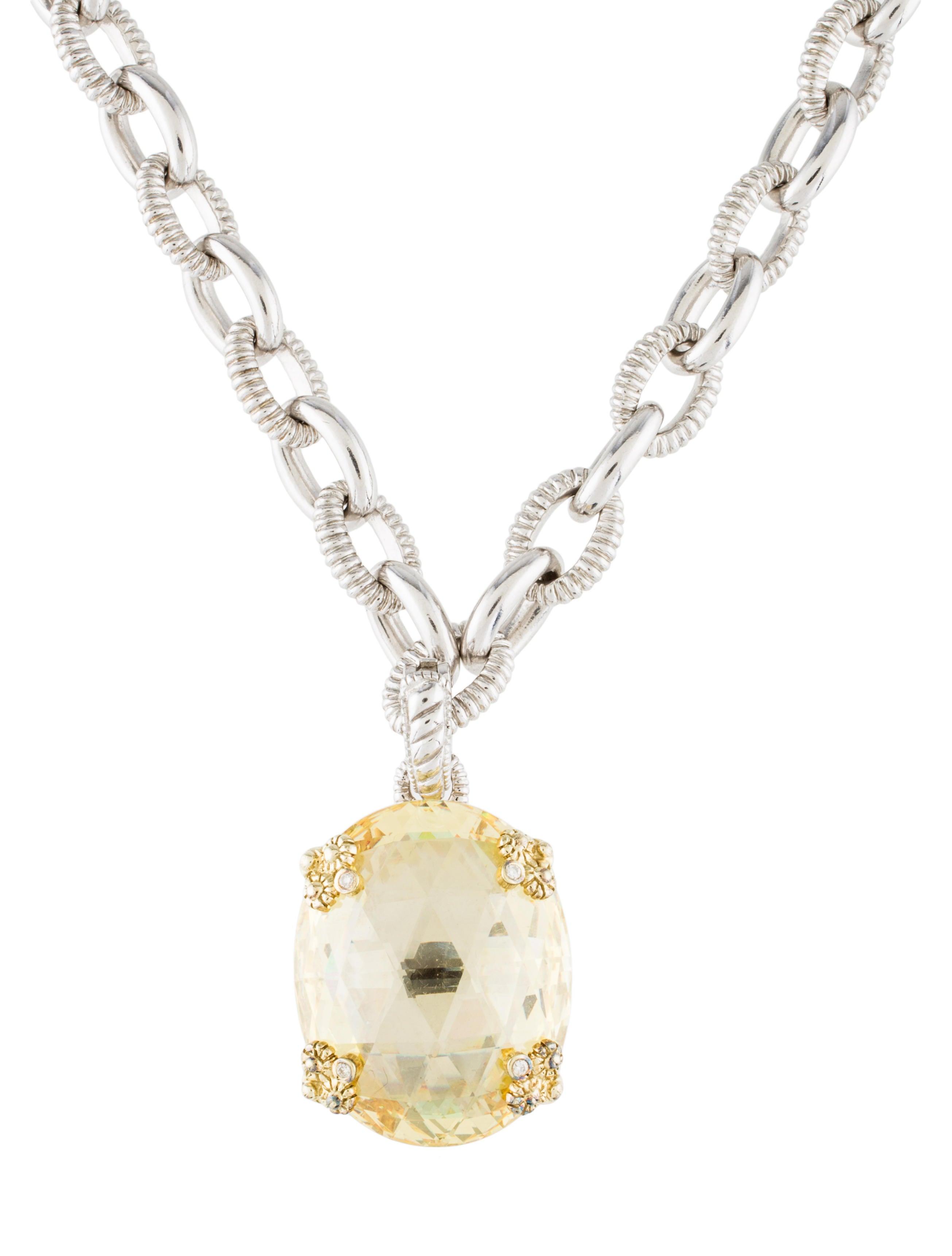 Crystal Diamond Silver Golden Round Flower Heart Anklet: Judith Ripka Crystal & Diamond Pendant Necklace