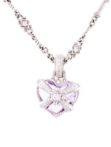 Judith ripka 18k moonstone diamond pendant necklaces jrk24440 product namejudith ripka 18k amethyst diamond heart pendant necklace aloadofball Images
