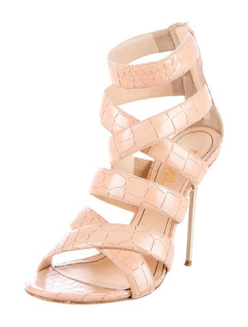 Embossed Multi-Strap Sandals