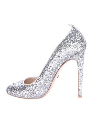 Jerome C. Rousseau Square-Toe Glitter Pumps