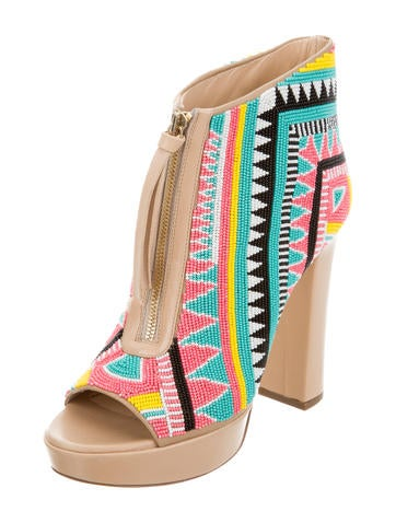 Beaded Platform Ankle Boots w/ Tags