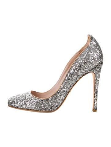 Glitter Square-Toe Pumps