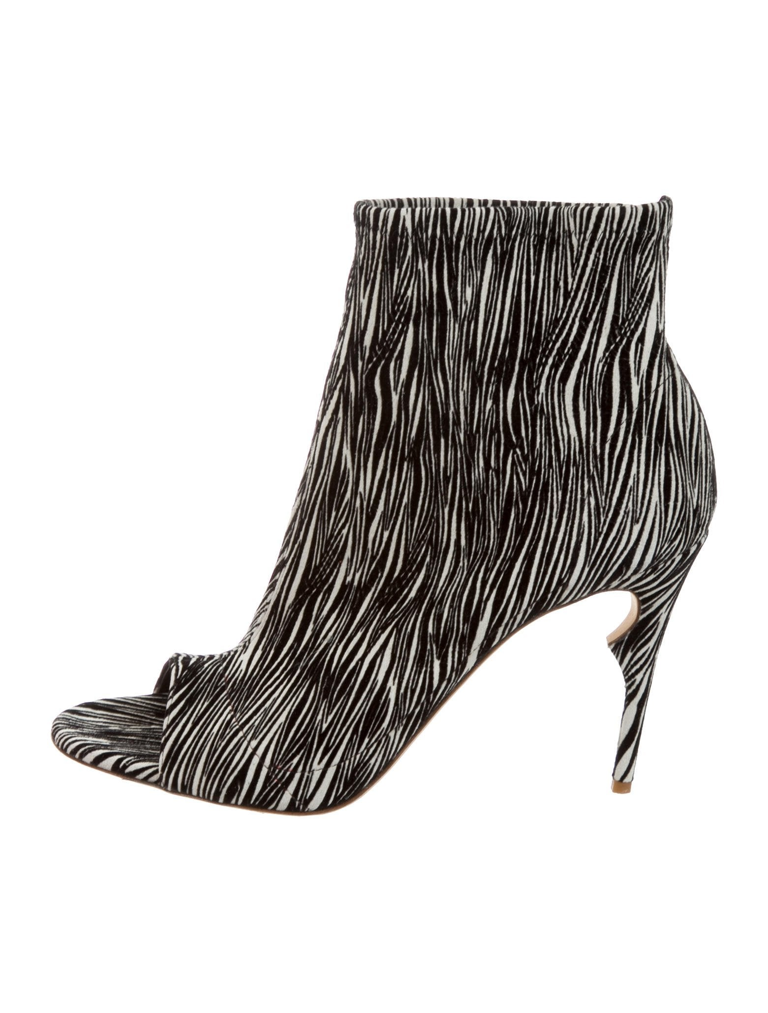 Jerome C. Rousseau Zebra Print Peep-Toe Booties free shipping good selling sale extremely cheap classic I3FmjSBV2b