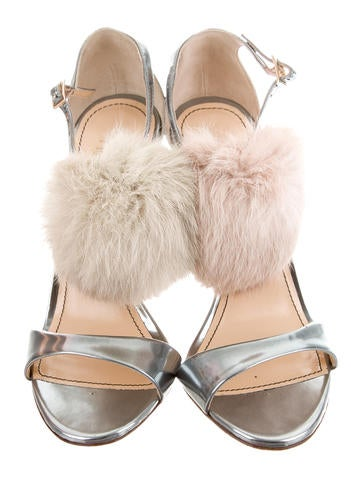 Jerome C. Rousseau Malibu Fur Pom-Pom Sandals w/ Tags