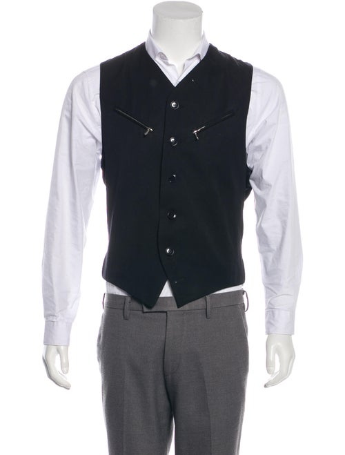 John Richmond Wool Button-Up Vest black