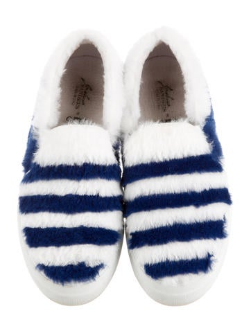 Rabbit Fur Flatform Slip-On Sneakers
