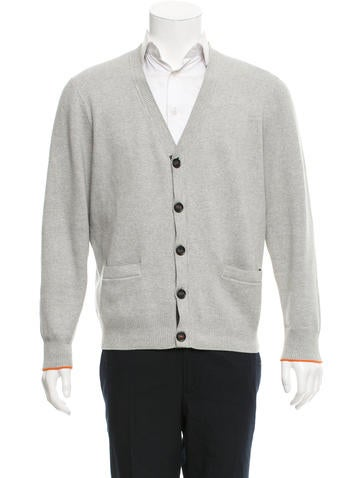 Jack Spade Rib Knit-Trimmed Long Sleeve Cardigan None