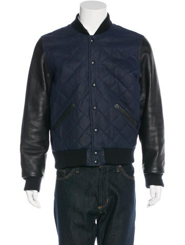 Jack Spade Quilted Leather-Trimmed Varsity Jacket None