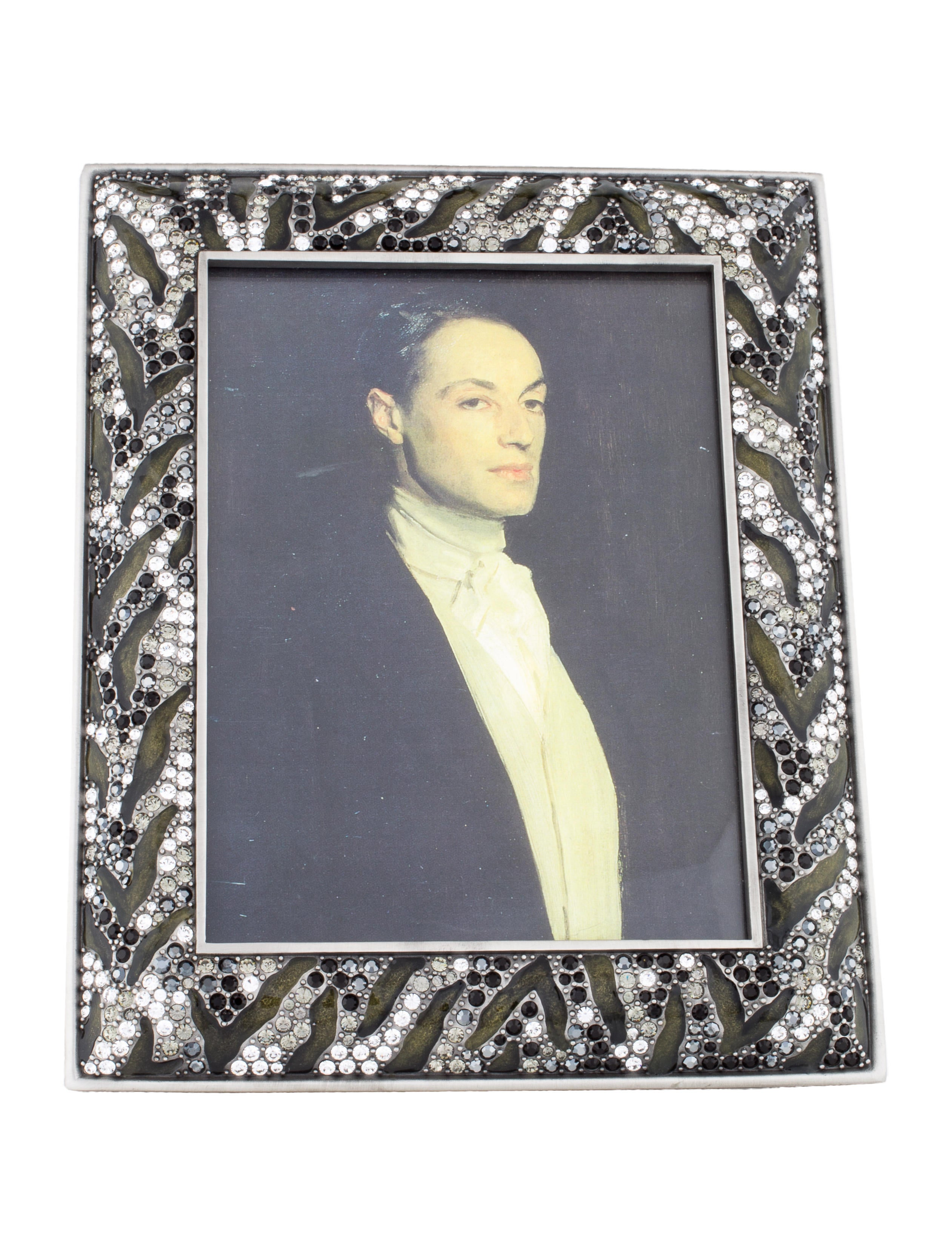 Jay strongwater embellished picture frame w tags decor for Embellished mirror frame
