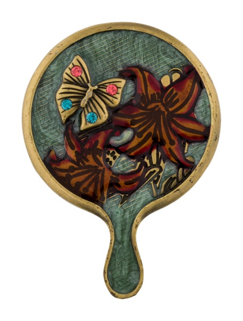 Jay Strongwater Embellished Compact Mirror Gold